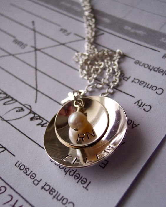 Nurse RN Gift Hand stamped sterling necklace by ARTIBILITY on Etsy