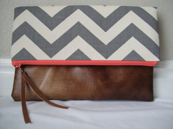 Gray chevron foldover zippered clutch with pink by LacyLouDesign, $26.00