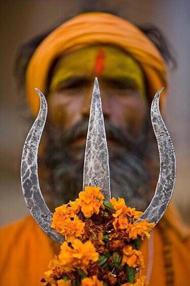 Indian Sadhu with trident