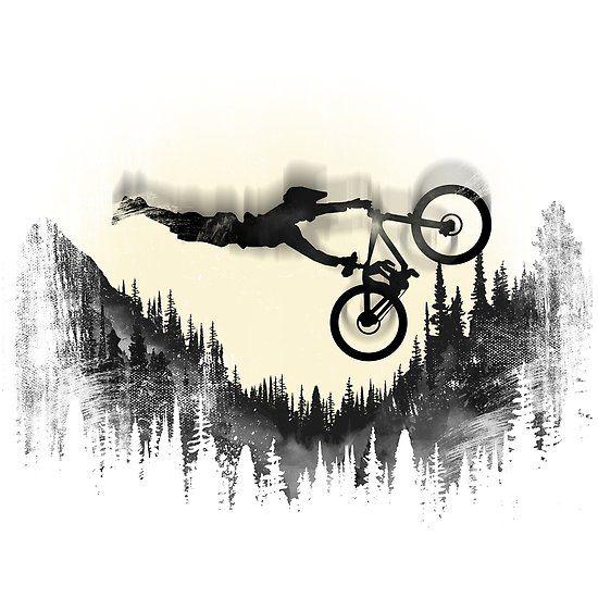 Mtb Forest Moon Arte Bicicleta Tatuajes Bicicletas Tatuajes De