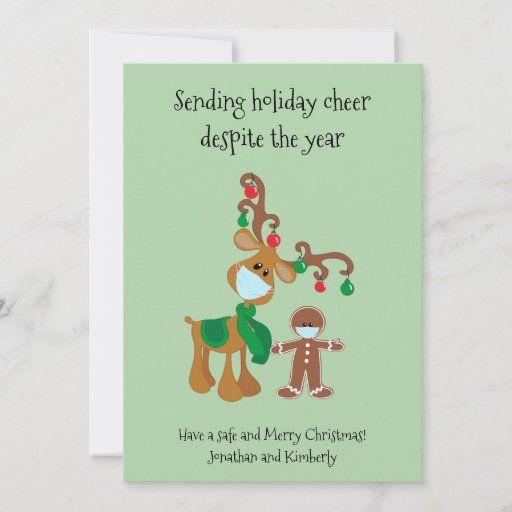 Sending Holiday Cheer Reindeer Face Mask 2020 Zazzle Com Christmas Card Sayings Funny Christmas Card Sayings Funny Xmas Cards