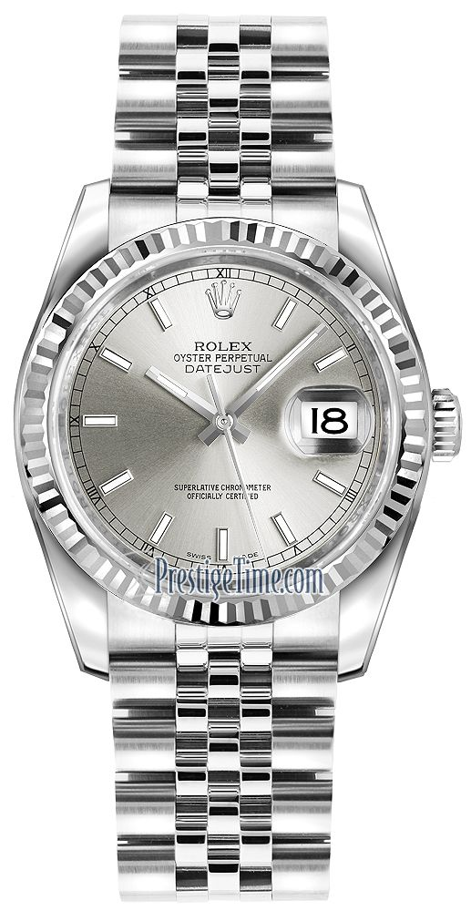 116234 Silver Index Jubilee Rolex Datejust 36mm Stainless Steel Midsize Watch