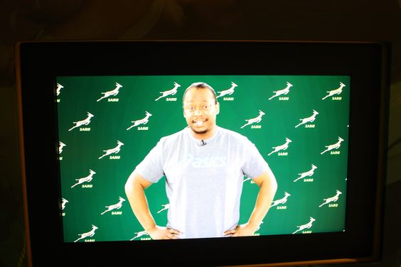 The Springbok Experience - Supersport rugby presenter Xola Ntshinga adds to the museum's high profile theme. The audience is familiar with what they experience daily on television