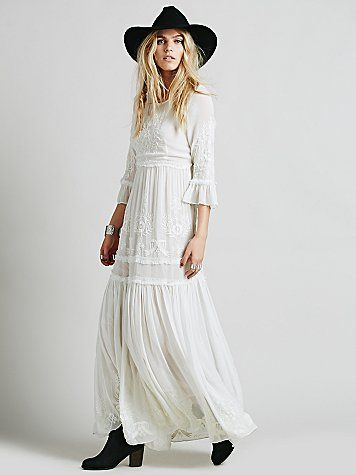 Long-sleeved bohemian lace wedding dress - wedding dresses ...