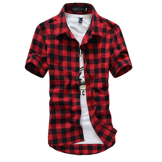 Plaid Shirt Men Shirts 2016 New Summer Fashion Chemise Homme Mens Checkered Shirts Short Sleeve Shirt Men Cheap Red And Black