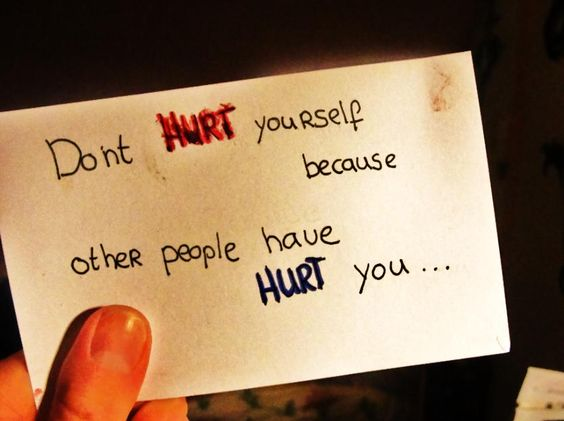 Don't hurt yourself because other people have hurt you....this is for anyone who has ever cut, harmed themselves in some way, thought of suicide, or have been bullied, called names, ignored or made fun of-you are not alone-people can be mean, and hurtful-don't let those people get to you-only an unhappy, insecure person goes out of their way to hurt someone else