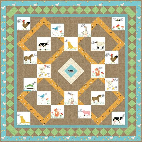 Barnyard Buddies Designed By Ariga Mahmoudlou For Robert Kaufman Features What Do The Animals Say Shipping To Barnyard Buddies Digital Quilt Pattern Quilts