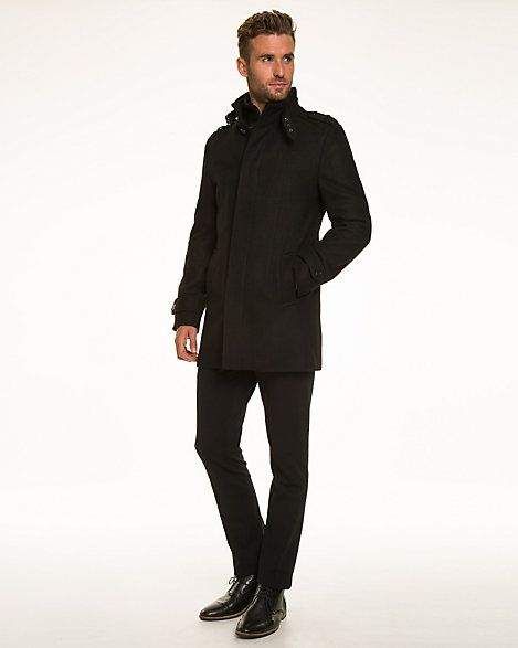Wool Blend Melton Funnel Neck Car Coat | Coats, Products and Cars