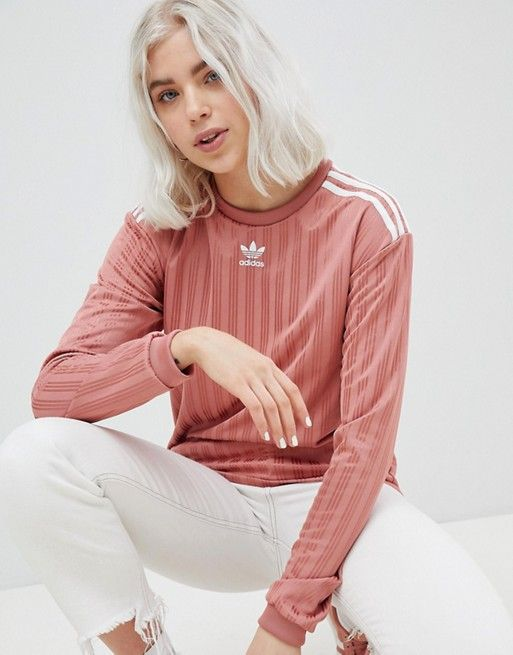 cheapest price good nice shoes adidas Originals Three Stripe Long Sleeve Top In Pink   Long ...