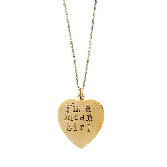 'I'm A Mean Girl/Boo You Whore!' Mean Girl Necklace
