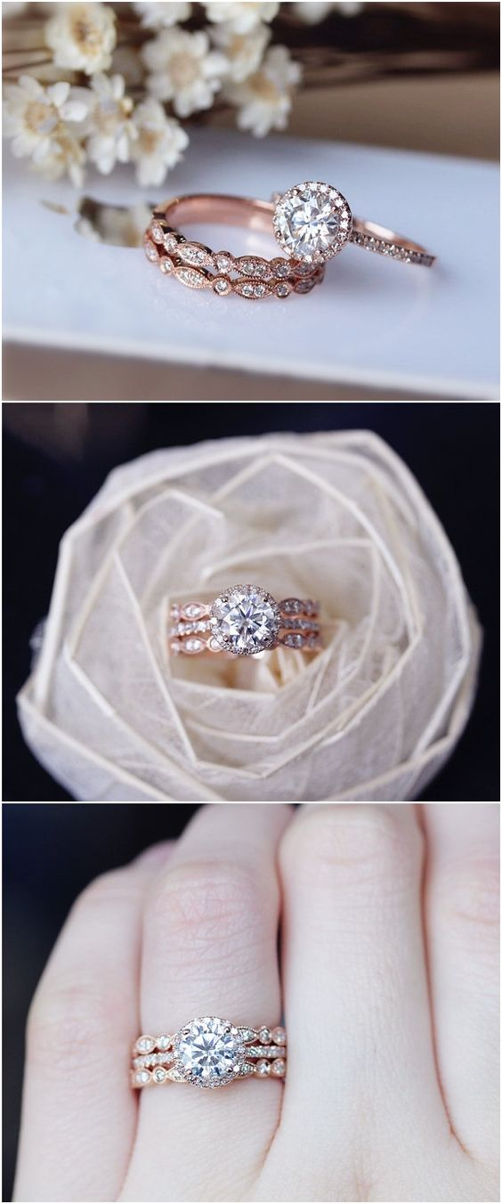 1ct Brilliant Moissanite Engagement Ring 3 Ring Set Solid 14K Rose Gold Wedding Ring Set Moissanite Ring Set Anniversary Ring Set / http://www.deerpearlflowers.com/rose-gold-engagement-rings/