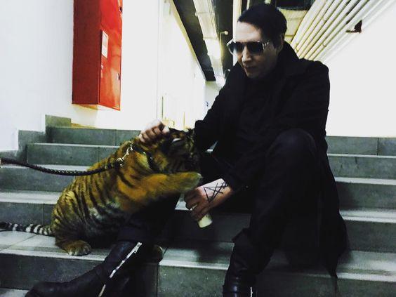虎にミルクをあげるMarilyn Manson