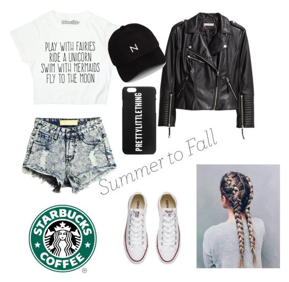 """Summer into fall👌🏼❤️😎"" by leylajune ❤ liked on Polyvore featuring H&M, New Black and Converse"