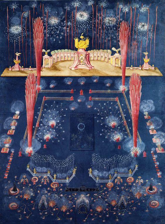 1740. Фейерверк и иллюминация на Новый 1740 год.