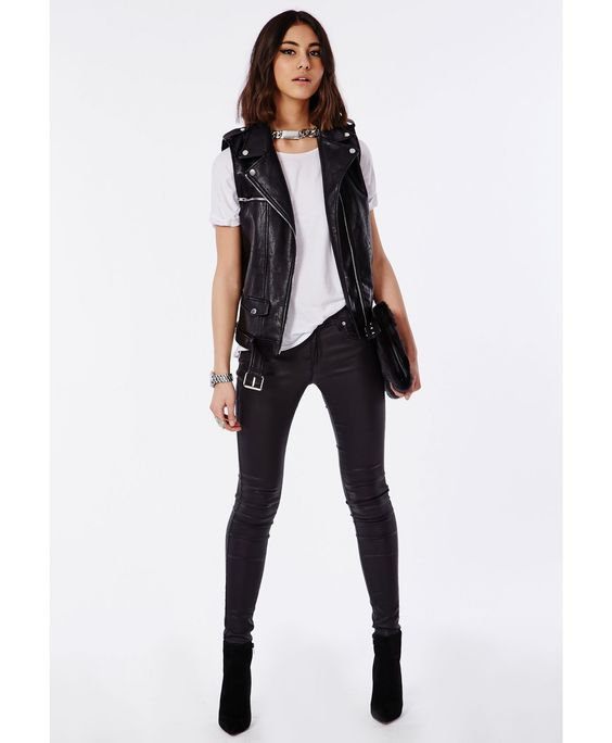 Sleeveless Faux Leather Gilet Black - Coats & Jackets - Missguided:
