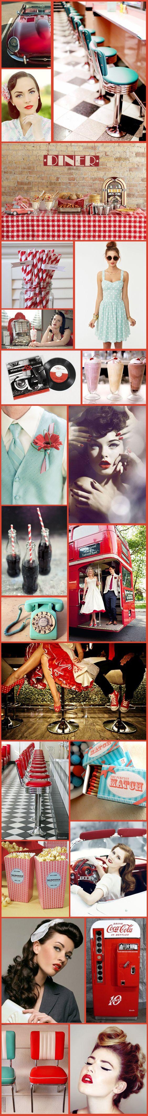 Wednesday Wedding Inspiration: Fun 50′s Retro Theme! – Bespoke-Bride: Wedding Blog ohmygod yes, this has completely changed my theme for my wedding!