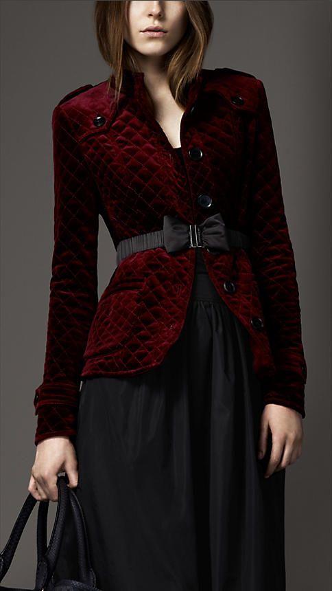 Image result for burberry velvet coat