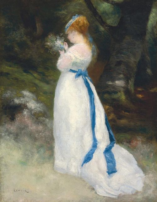 Pierre Auguste Renoir (1841-1919), Portrait of Lise (Lise holding a bouquet of wild flowers)