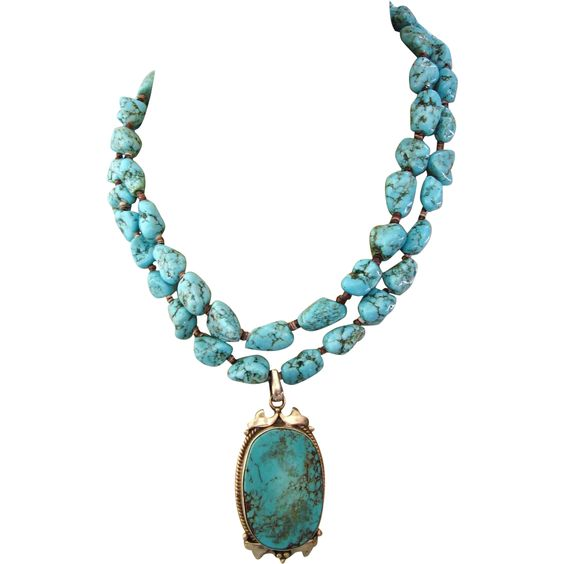 Fabulous Turquoise Necklace With Sterling and Turquoise Pendant, from delmartwo on Ruby Lane