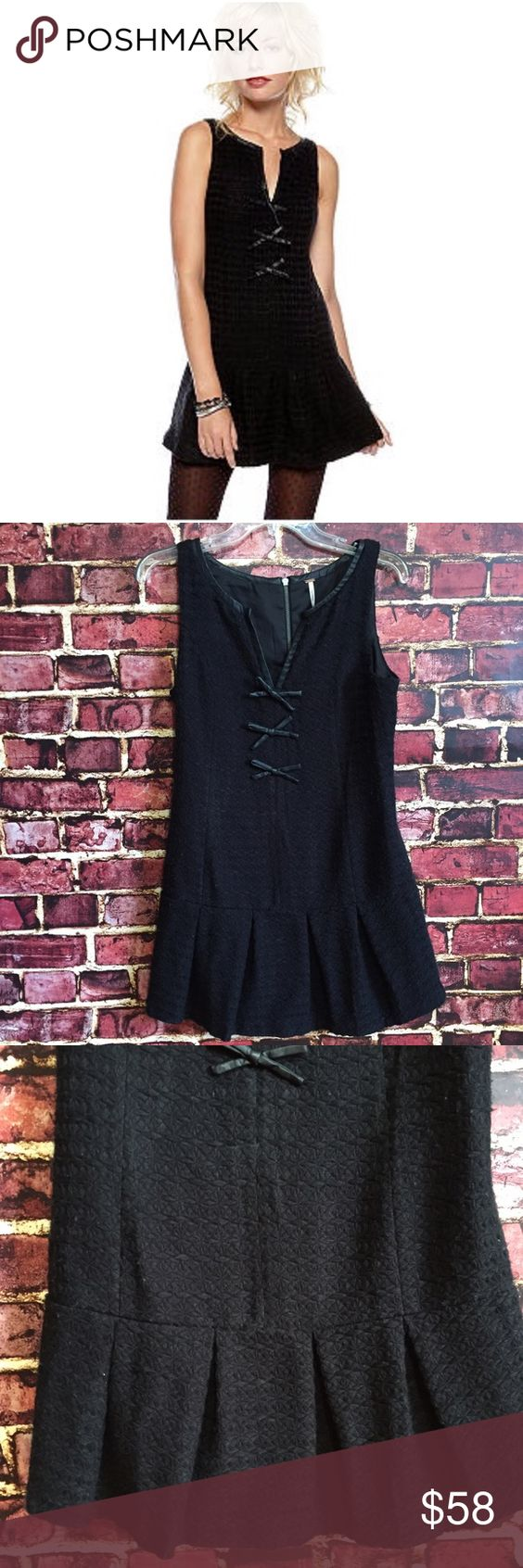 💜Free People wool drop waist bow dress Size 6. Rear zipper. Lined. Drop waist with pleated skirt. NWT $168  💟Fast 1-2 day shipping 💟Reasonable offers accepted 💟Purchase 3 or more items & get a special bundle rate!  💟Smoke-free home Free People Dresses Mini
