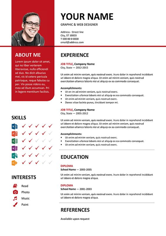 Bayview Free Resume Template Microsoft Word - Red Layout | Classic