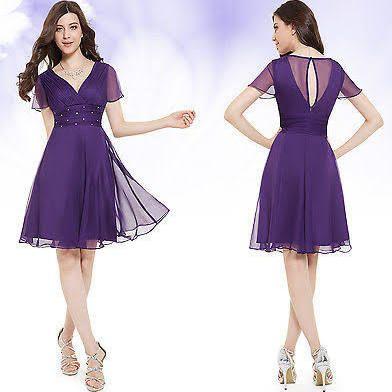 Purple Satin Cocktail Dresses