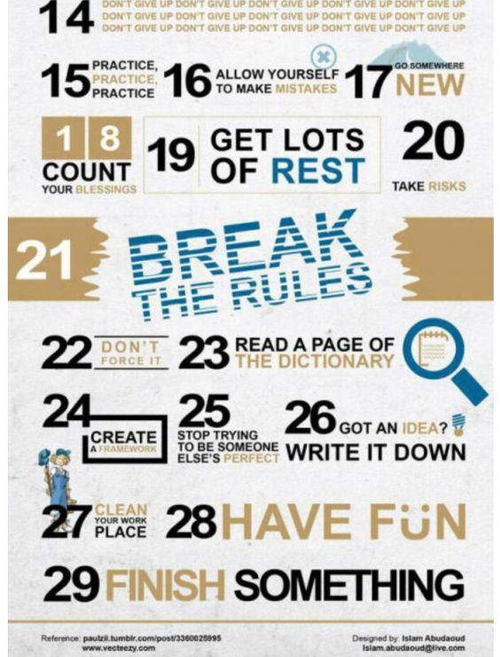 29 maneras de permanecer creativo (Parte 2)