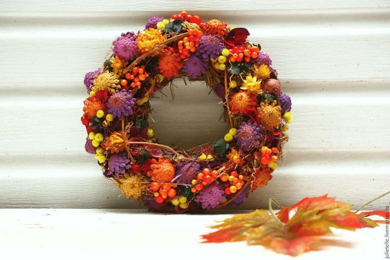Купить Осенний венок Бархатный Сезон - фиолетовый, оранжевый, венок, венок на…: