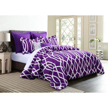 7 Piece Geometric Anbu Comforter Set Purple King Size Walmart Com Comforter Sets Purple Bedding King Comforter Sets