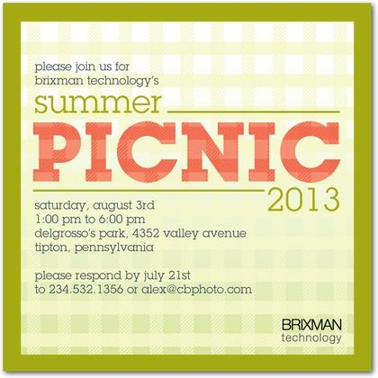 Event invitations Corporate events and Picnics on Pinterest