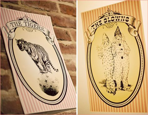 Circus themed bathroom signs (clowns for the men & tightrope walkers for the women)