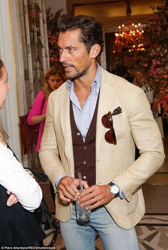 Hunky:Further flying the flag for the men at the bash was hunk model David…
