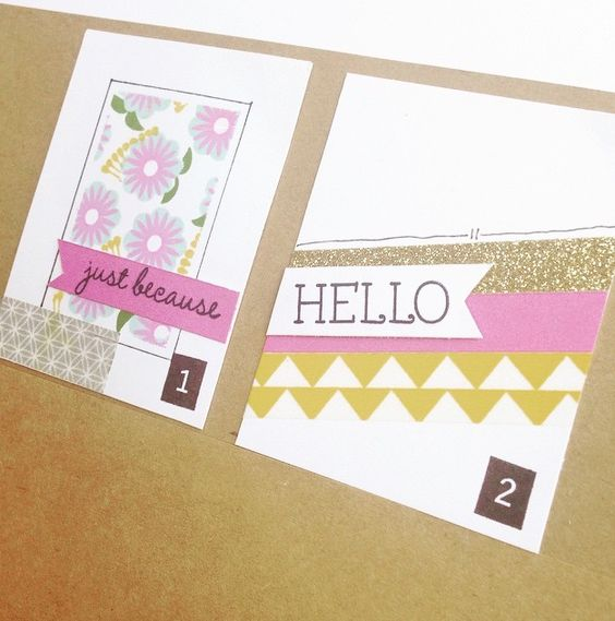 Use washi tape?  *1: Give a clean edge to your stamped images but creating a simple washi tape mask. Lay the edges of the washi tape against the edges of a card and stamp inside the mask as desired.  *2: Mix it up by alternating washi tape, cardstock and Shimmer Trim for a unique background.  #weheartwashi #creativetechniques #washiwonder #ctmh #ctmhcreate #washitape
