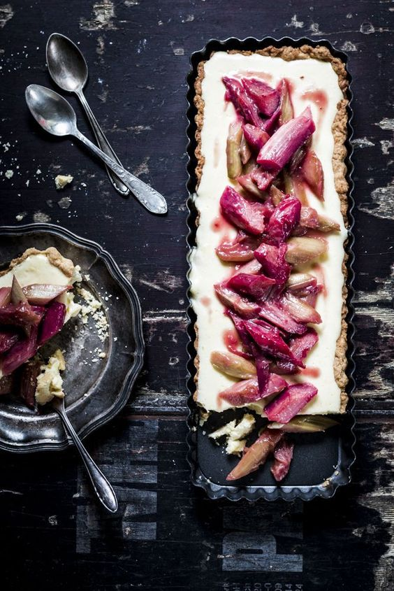 ... raspberry and rhubarb tart ...