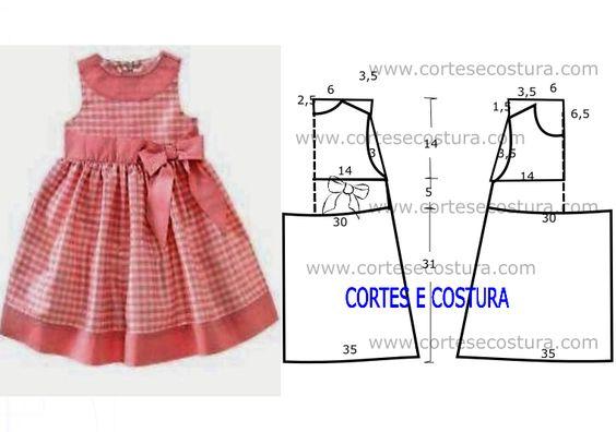 Para as princesas fica aqui este lindo vestido de criança 3 a 4 anos com medidas. Este modelo é simples de costurar e fica sempre bem nas crianças.: