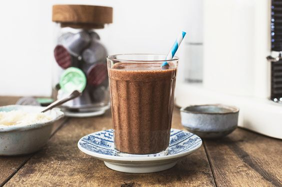 Re-Pin By @siliconem -  coffee smoothie - Jamie Oliver. Frozen banana, chia seeds, coconut water,ground almonds and shot of espresso.