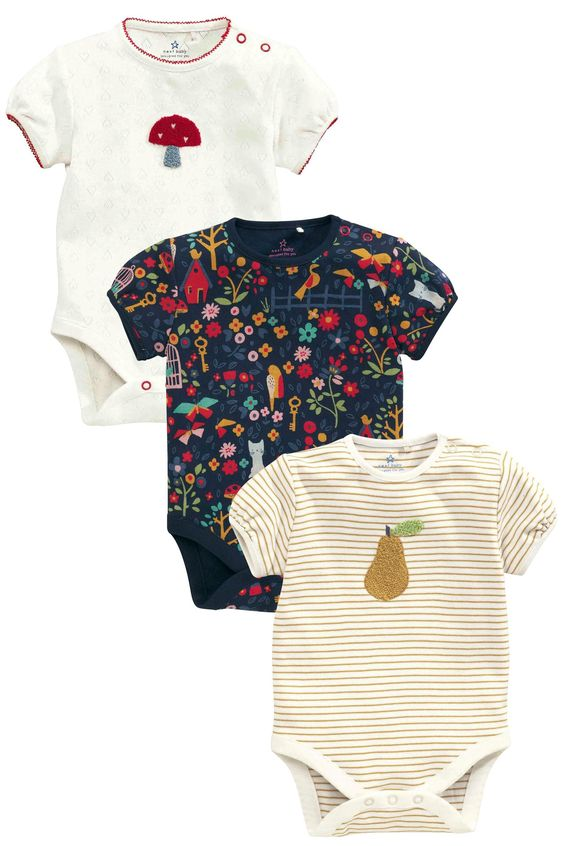 Buy Navy/Red Short Sleeve Floral Print Bodysuits Three Pack (0mths-2yrs) from the Next UK online shop