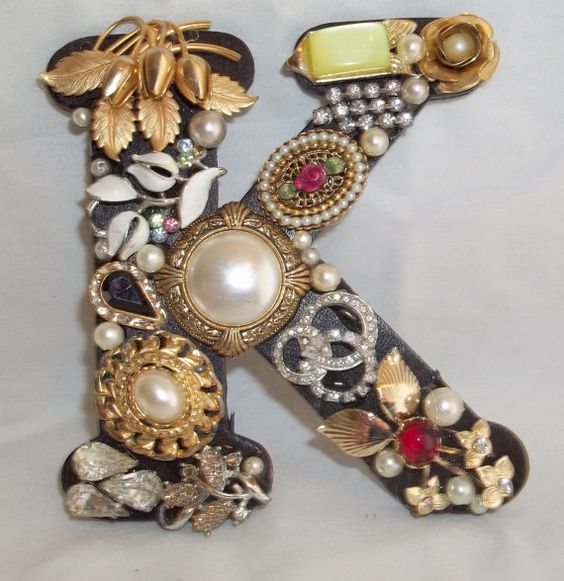 Jeweled Initial Monogram Letter K
