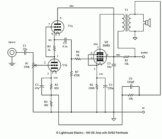 e75ad369d30e71a15fc1f3d3a02a3eef circuit diagram electronic circuit 4 watt single ended vacuum tube amplifier audio 2 pinterest High-End Tube Amp Schematics at alyssarenee.co