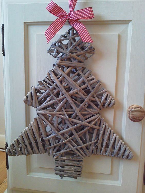 Extra Large Rattan Christmas Tree with Red Gingham Hanger. Stylish and unusual.: