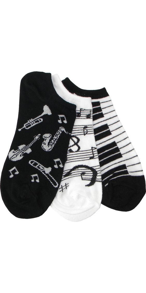 Three Musical Pack (1 Piano, 1 Instrument, 1 Music Note) Footie in Black and White: