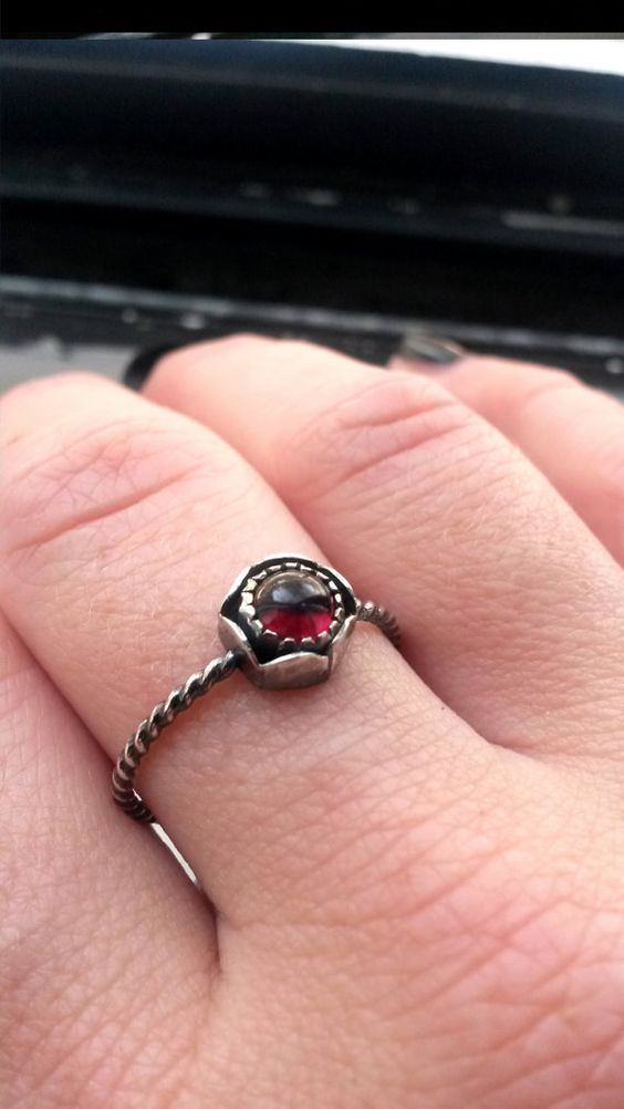 Garnet Rose Ring  Valentine Collection by TheArrowandSong on Etsy