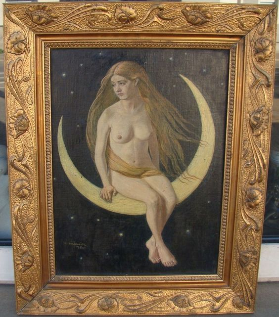 Heinrich Hofmeier (1869-1924) München Akt auf Mondsichel Mondgöttin Luna sign.   eBay