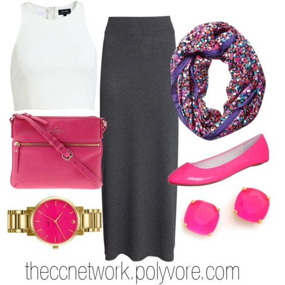 """Maxi Skirt Outfit 11 with Kate Spade accessories"" by theccnetwork on Polyvore... Different tank though"