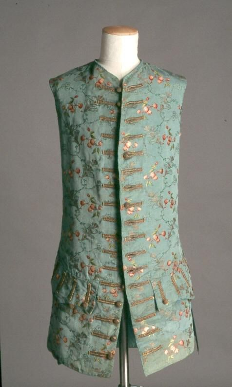 Waistcoat, part of a 3-piece suit, 1750-1760. Pale turquoise silk brocaded with floral motifs.