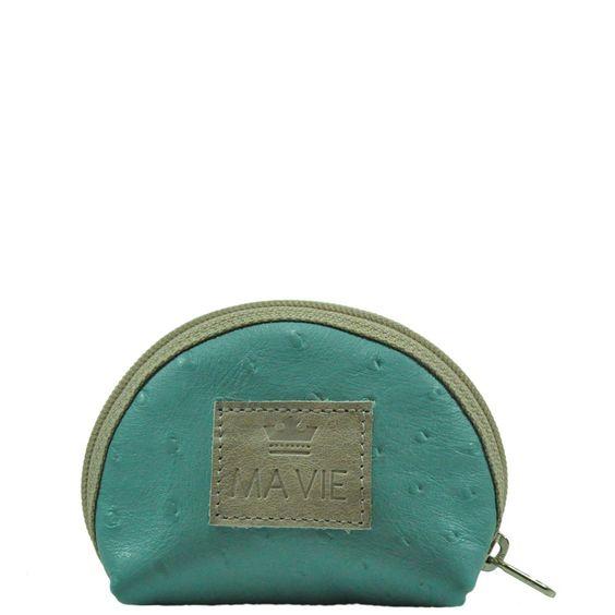 Porta moeda em couro com textura de avestruz na cor turquesa. Zíper e etiqueta na cor cinza.