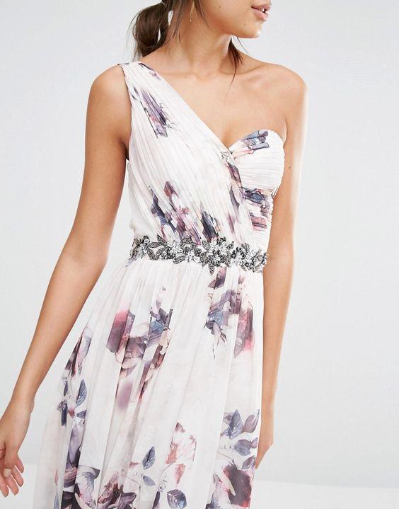 Image 3 ofLittle Mistress Tall One Shoulder Floral Skater Dress With…