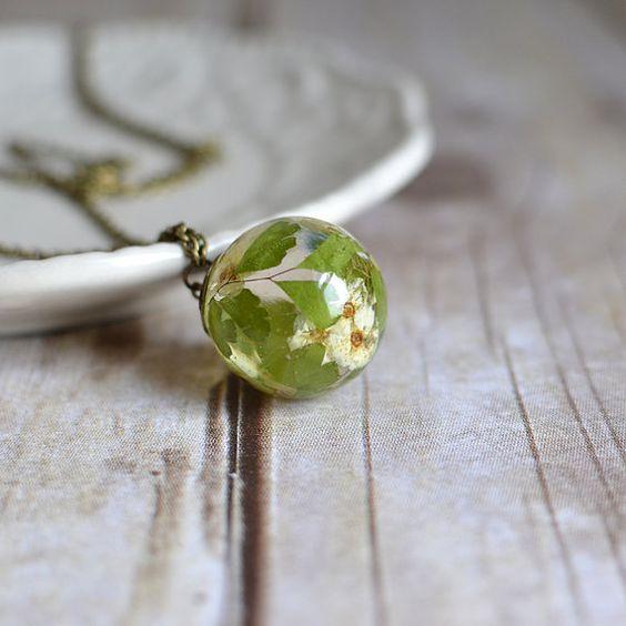 Flower sphere necklace-bridal wreath blossom maidenhair fern- nature inspired -botanical jewelry, real flower necklace, mothers day necklace