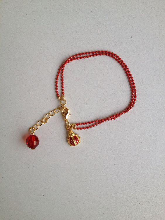 Red chain ladybug bracelet