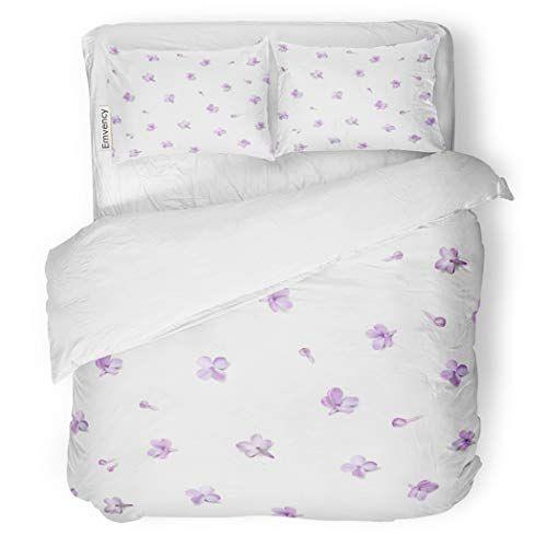 Sanchic Duvet Cover Set Pastel Color Floral Purple Lilac Flowers And Petals Decorative Bedding Set With 2 Pillow Shams F Bed Decor Duvet Cover Sets Bedding Set